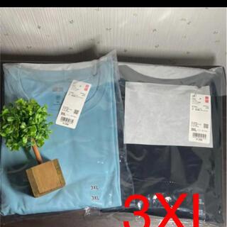 ユニクロ(UNIQLO)の3XL ユニクロ ドライEXクロプドT コットンライク 半袖 ブラック&ブルー(Tシャツ(半袖/袖なし))