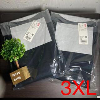 ユニクロ(UNIQLO)の3XL ユニクロ ドライEXクロプドT コットンライク 半袖 ブラック2枚(Tシャツ(半袖/袖なし))