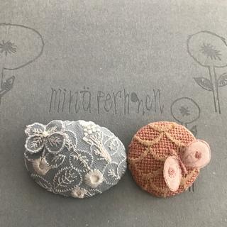mina perhonen - ミナペルホネン skyful×⚮̈ gray ブローチ ハンドメイド