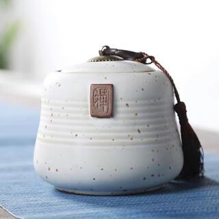 陶磁器茶入れ 茶缶 銅取手 インテリア 手作り