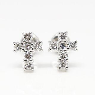 ジュエリーマキ(ジュエリーマキ)の美品 Pt850 ダイヤモンド クロスピアス D0.11×2(ピアス)