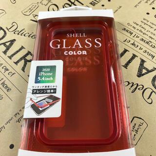 iPhone12mine ガラス ケース スマホ レッド 新品 シンプル   (iPhoneケース)
