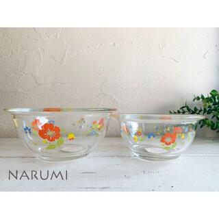 NARUMI - 昭和レトロ ナルミNARUMI クックマミー 耐熱ガラス製ボール 花柄 大中2個