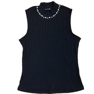 イング(INGNI)のINGNI イング ハイネック ノースリーブリブニット Mサイズ 黒(Tシャツ(半袖/袖なし))