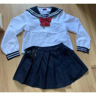 女子中高生セーラー服上下リボンコスプレハロウィン衣装(衣装一式)