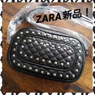 ZARA - 未使用!ZARAキルティングスタッズショルダーバッグ ブラック黒