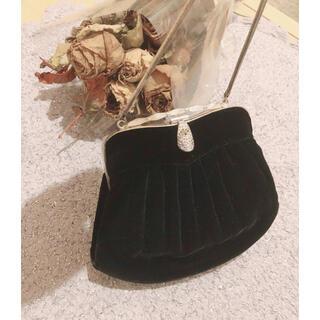 Lochie - 古着 used がま口 ポーチ ベロア 黒 ハンドバッグ