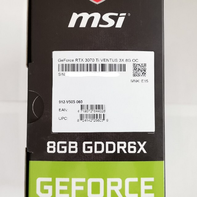 MSI GeForce RTX 3070 Ti VENTUS 3X 8G OC スマホ/家電/カメラのPC/タブレット(PCパーツ)の商品写真