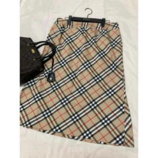 BURBERRY - 美品 バーバリー ロンドン スカート チェック ベージュ 大きいサイズ 15