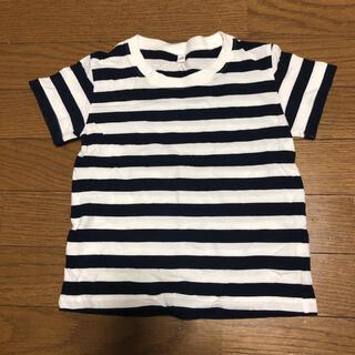 ムジルシリョウヒン(MUJI (無印良品))の100サイズ 無印良品 ボーダーTシャツ ネイビー(Tシャツ/カットソー)