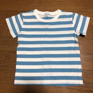 ムジルシリョウヒン(MUJI (無印良品))の100サイズ 無印良品 ボーダー Tシャツ 水色(Tシャツ/カットソー)