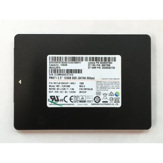 RY-225-SAMSUNG 128GB SSD 2.5インチ 1点 スマホ/家電/カメラのPC/タブレット(PCパーツ)の商品写真