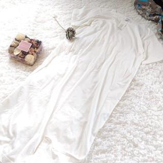 ローリーズファーム(LOWRYS FARM)の◆タグ付き未使用◆ロングTシャツ スリット ワンピース   ホワイト   L(ロングワンピース/マキシワンピース)