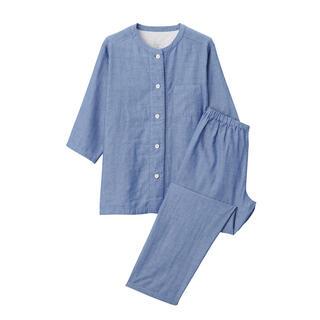 ムジルシリョウヒン(MUJI (無印良品))の無印良品 脇に縫い目のない細番手二重ガーゼ七分袖パジャマ ブルー(パジャマ)