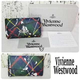 ヴィヴィアンウエストウッド(Vivienne Westwood)の【未使用】Vivienne ヴィヴィアン キーケース 緑 チェック ペイント(キーケース)