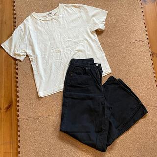 ニコアンド(niko and...)の美品 nico and... Tシャツ 黒ワイドデニム セット(Tシャツ(半袖/袖なし))