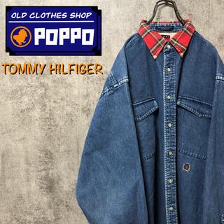TOMMY HILFIGER - トミーヒルフィガー☆オールド刺繍ロゴチェック柄襟切替ダブルポケットデニムシャツ