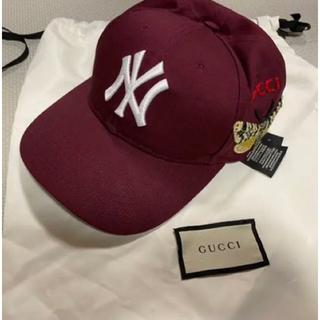 グッチ(Gucci)の美品 グッチ NYヤンキース ベースボールキャップ  帽子 バタフライ 蝶 GG(キャップ)