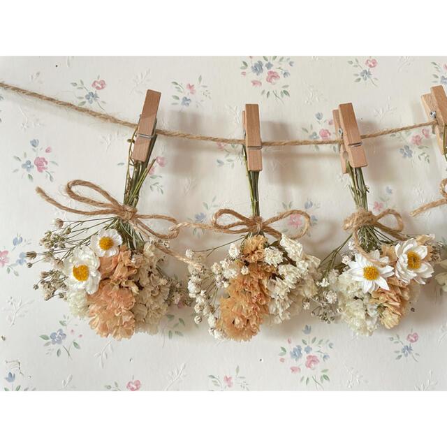 くすみオレンジとかすみ草のホワイトドライフラワーガーランド♡スワッグ♡ミニブーケ ハンドメイドのフラワー/ガーデン(ドライフラワー)の商品写真