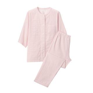 ムジルシリョウヒン(MUJI (無印良品))の無印良品 脇に縫い目のない細番手二重ガーゼ七分袖パジャマ ピンク(パジャマ)