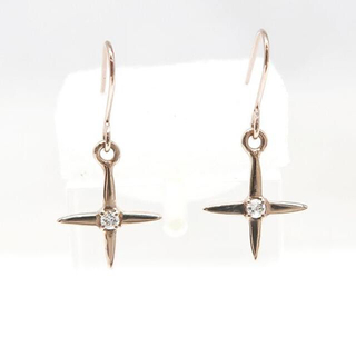 ジュエリーマキ(ジュエリーマキ)の美品 K10PG ダイヤモンド クロス フックピアス D0.01×2(ピアス)