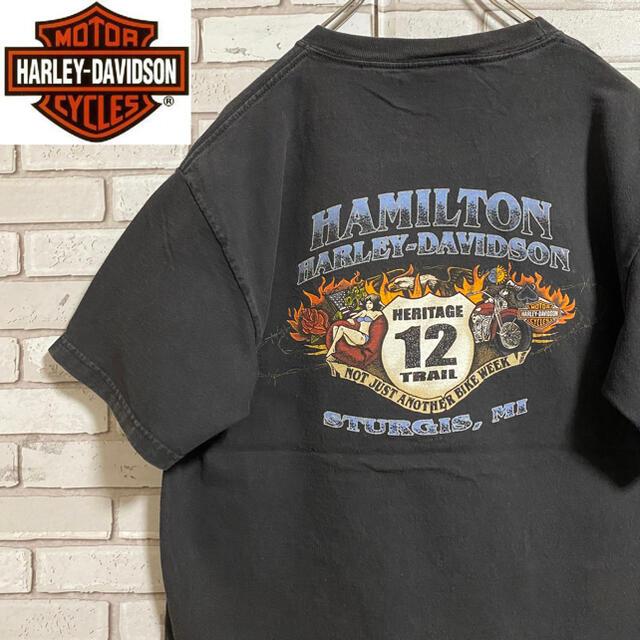 Harley Davidson(ハーレーダビッドソン)の90s 古着 ハーレーダビッドソン メキシコ製 バックプリント ビッグプリント メンズのトップス(Tシャツ/カットソー(半袖/袖なし))の商品写真