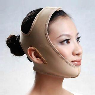 フェイスラインベルト 小顔バンド 引き上げマスク 圧迫用 ベージュ (エクササイズ用品)
