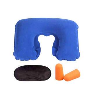 持ち運び 安眠 快適 セット 枕 アイマスク 耳栓 3点セット ブルー(旅行用品)