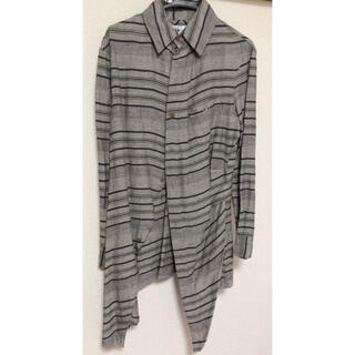 Vivienne Westwood - 変形オーブワンポイントリネンボーダーロングシャツ/ヴィヴィアン