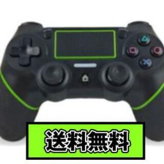 PS4 ワイヤレスコントローラー ブラック&グリーン USB付 互換品(その他)