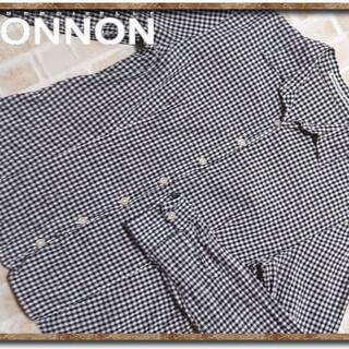 マドモアゼルノンノン ギンガムチェックシャツ 紺×白