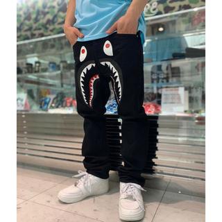 アベイシングエイプ(A BATHING APE)のBape shark denim slim stretch black XL(デニム/ジーンズ)