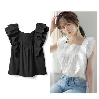 グレイル(GRL)のグレイル バックリボンドット刺繍フリルシャツ(シャツ/ブラウス(半袖/袖なし))