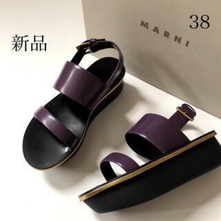 マルニ(Marni)の新品/38 MARNI マルニ プラットホーム サンダルパープル × ブラック(サンダル)