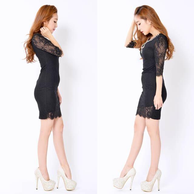 dazzy store(デイジーストア)のdazzy store ビジュー付き盛りドレス♥ レディースのフォーマル/ドレス(ミニドレス)の商品写真