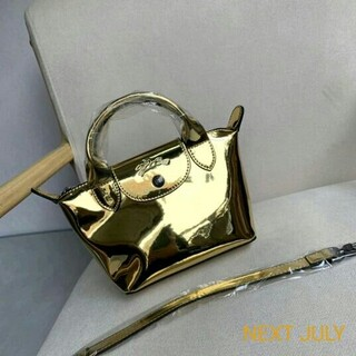 LONGCHAMP - 新品未使用 Longchamp ゴールド ハンドバッグ Mini XSサイズ
