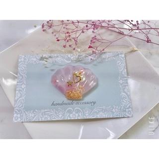 ピンクのシェルのうるつやヘアアクセサリー ポニーフック/ヘアゴム