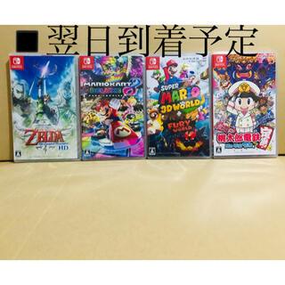 ニンテンドースイッチ(Nintendo Switch)の4台 ●ゼルダの伝説 ●マリオカート8 ●マリオ 3Dワールド ●桃太郎電鉄(家庭用ゲームソフト)