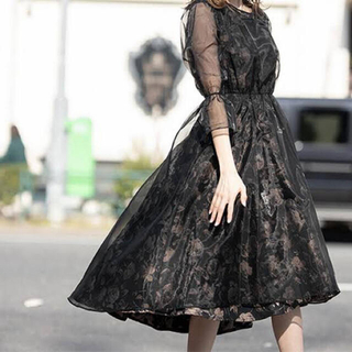 ガール(GIRL)の美品 シアーロングドレスワンピース 袖あり ゴールド ブラック(ロングドレス)