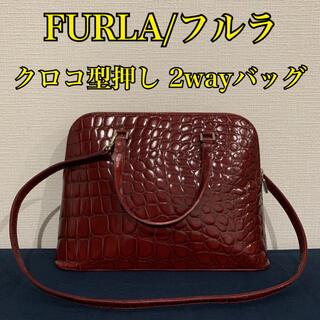 Furla - 【FURLA】フルラ クロコ型押し 2wayバッグ ショルダー えんじ ボルドー