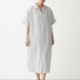 MUJI (無印良品) - フレンチリネン 洗いざらし 五分袖開襟ワンピース