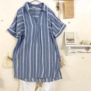 3can4on - ☆ 3カン4オン 長めスキッパーストライプシャツ