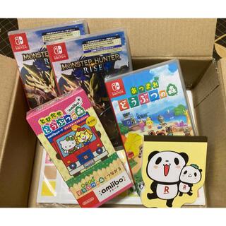 ニンテンドースイッチ(Nintendo Switch)の初回限定版モンハンライズ2本&あつもりソフト&とびだせどうぶつの森amibo(家庭用ゲームソフト)