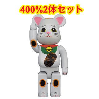 メディコムトイ(MEDICOM TOY)のBE@RBRICK 招き猫 白メッキ 発光 400% 2体(その他)