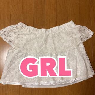 グレイル(GRL)のグレイル GRL オフショル オフショルダー  ホワイト レース フリル(シャツ/ブラウス(半袖/袖なし))