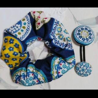 北欧 タイル柄 ポーリッシュポタリー シュシュ 花柄 ヘアゴム くるみボタン 2