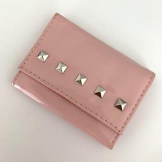 サザビー(SAZABY)のサザビー折り畳み財布 ピンク三つ折り財布 エナメルピンクスタッズ ミニ財布(財布)