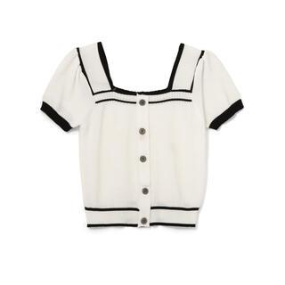 グレイル(GRL)のGRL ニットカーディガン ホワイト 白 新作 人気 韓国ファッション 春 夏(シャツ/ブラウス(半袖/袖なし))
