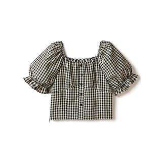 グレイル(GRL)のGRL ギンガムチェックブラウス ブラック トップス 韓国ファッション 新作 春(シャツ/ブラウス(半袖/袖なし))