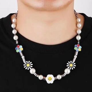 新品 スマイル ネックレス 花 韓国 サルーテ メンズ レディース 真珠